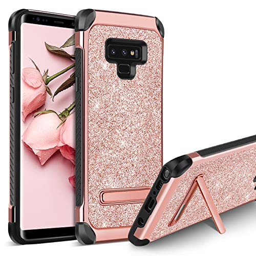 Samsung Galaxy Note 9 Case, BENTOBEN Stylish Kickstand Protective Shockproof Phone Cases Luxury Glitter Bling Pretty Phone Cover Slim Shiny Sparkle Phone Cover Case for Girls Women - Rose Gold/Pink