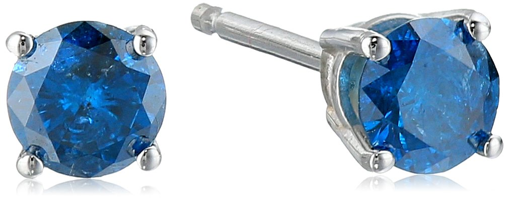 Blue Diamond 14k White Gold Stud Earrings (1/3cttw, I2 Clarity)