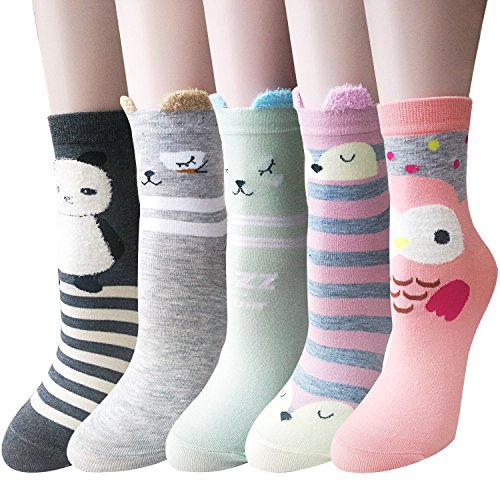 Pack of 5 Sweet Animal Design Women's Casual Comfortable Cotton Crew Socks