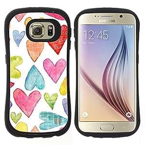 "Hypernova Slim Fit Dual Barniz Protector Caso Case Funda Para Samsung Galaxy S6 [Acuarela Blanco Colorido Amor""]"