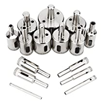 Aiskaer 15 pcs High quality Diamond Hole Saw Drill Bit Set - Diamond Hole SAW Drill BIT FOR Ceramic, Porcelain Tiles, Glass, Marble, Granite, Hole Sizes from 4mm to 40mm