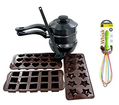 "The Kitchen Queen 6 Pack Chocolate Making Kit Includes Ladle, Double Boiler, and Chocolate Moulds + 10"" Whisk"