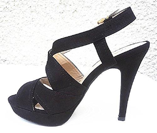 Sandales a plateforme talon femme escarpin Aiguille À Lanières bout ouverte K433 NOIR