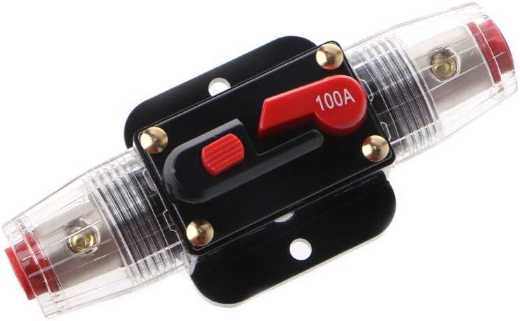 Rtengtunn 12V DC 20A-100A Car Solar Energy Inline Circuit Breaker Reset Fuse Holder 50A