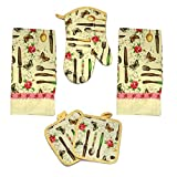 Kitchen Towel Set 5 Piece Towels Pot Holders Oven Mitt & Dishcloth Decorative Design Everyday Use (5 Piece, Spring Time)