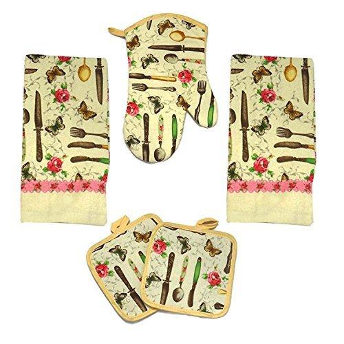 Kitchen Towel Set 5 Piece Towels Pot Holders Oven Mitt & Dishcloth Decorative Design Everyday Use (5 Piece, Spring Time)