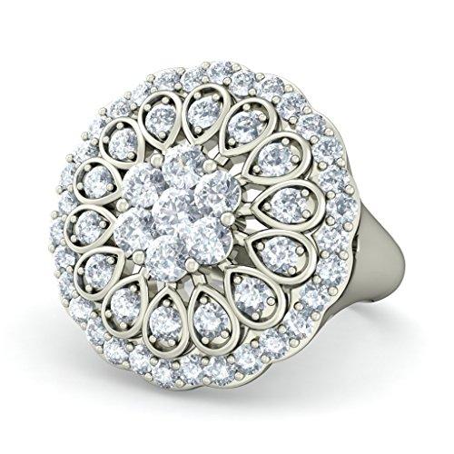 18K Or Blanc, 1.12carat Diamant Taille ronde (IJ | SI) Cocktail en diamant