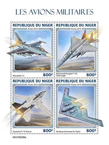 Niger - 2019 Military Planes on Stamps - 4 Stamp Sheet - NIG190208a