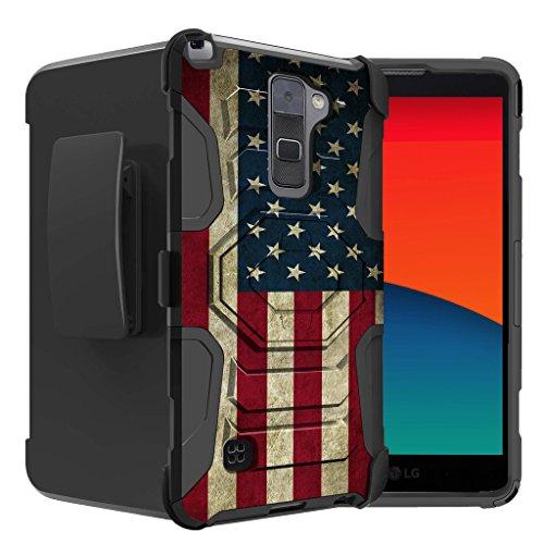 [해외]LG 스타일러스 2에 대 한 untouchble 케이스 | LG Stylo 2 플래그 케이스 [튼튼한 권총 케이스] 이중 층 전화 보호 및 내장 킥 스탠드와 회전 권총 케이스-빈티지 미국 국기 / Untouchble Case for LG Stylus 2 | LG Stylo 2 Flag Case[Rugged Holst...