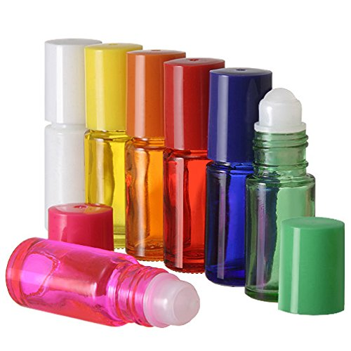 5 ml. Glass Roll on Bottle. Perfect for Essential Oils Aromatherapy, Perfume and Cologne. Plastic Roller. Pipettes Included (72 Bottles, Red)