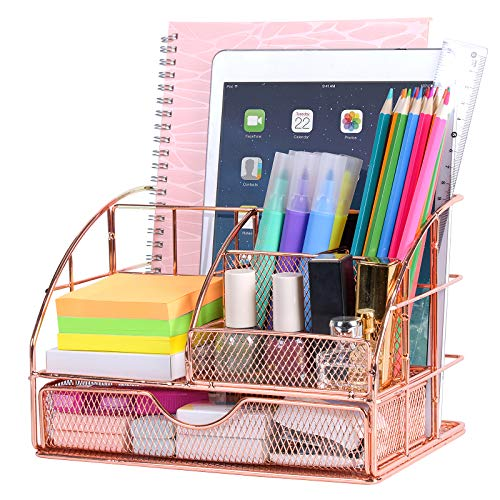 Upgraded Desk Organizer, Cute Mesh Office Supplies Accessories Essentials Caddy with Drawer for Home & Office Desktop Organization & Decor (Argent)