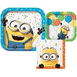 Despicable Me 3 Party Bundle- 8 Dinner Plates, 8 small Plates and 16 Napkins