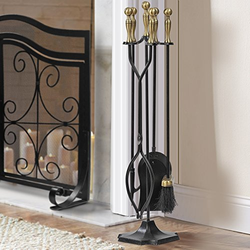 5 Pieces Fireplace Tools Sets Brass Handles Wrought Iron