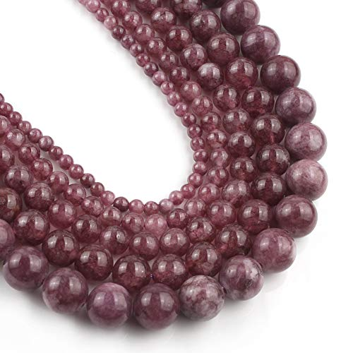 Yochus 6mm Lepidolite Round Loose Beads Natural Stone Beads for Jewelry Making
