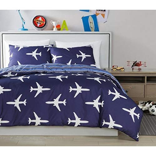 D&A 2 Piece Kids Navy Blue White Airplane Themed Comforter Twin Set, Preppy Chic Boys Girls Air Plane Jet Bedding, Reversible Horizontal Stripe Pattern, Polyester