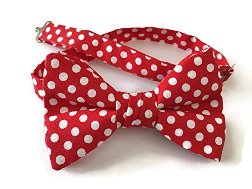 (Men's Pretied Bow Tie in Red and White Polka Dots)