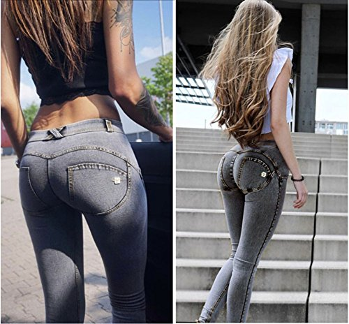iRachel Women's Sexy Low Waisted Butt Lifting Skinny Jeans Denim Pants Grey ND5M4zI