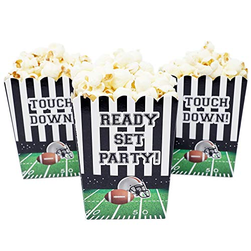 Sports Themed Mini Popcorn Favor Boxes for Birthdays, Sport Events, and Customized Parties - 20 Count (Football Party)]()