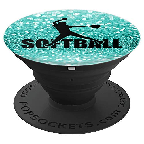 Softball Pitcher Teal Silhouette - PopSockets Grip and Stand for Phones and Tablets