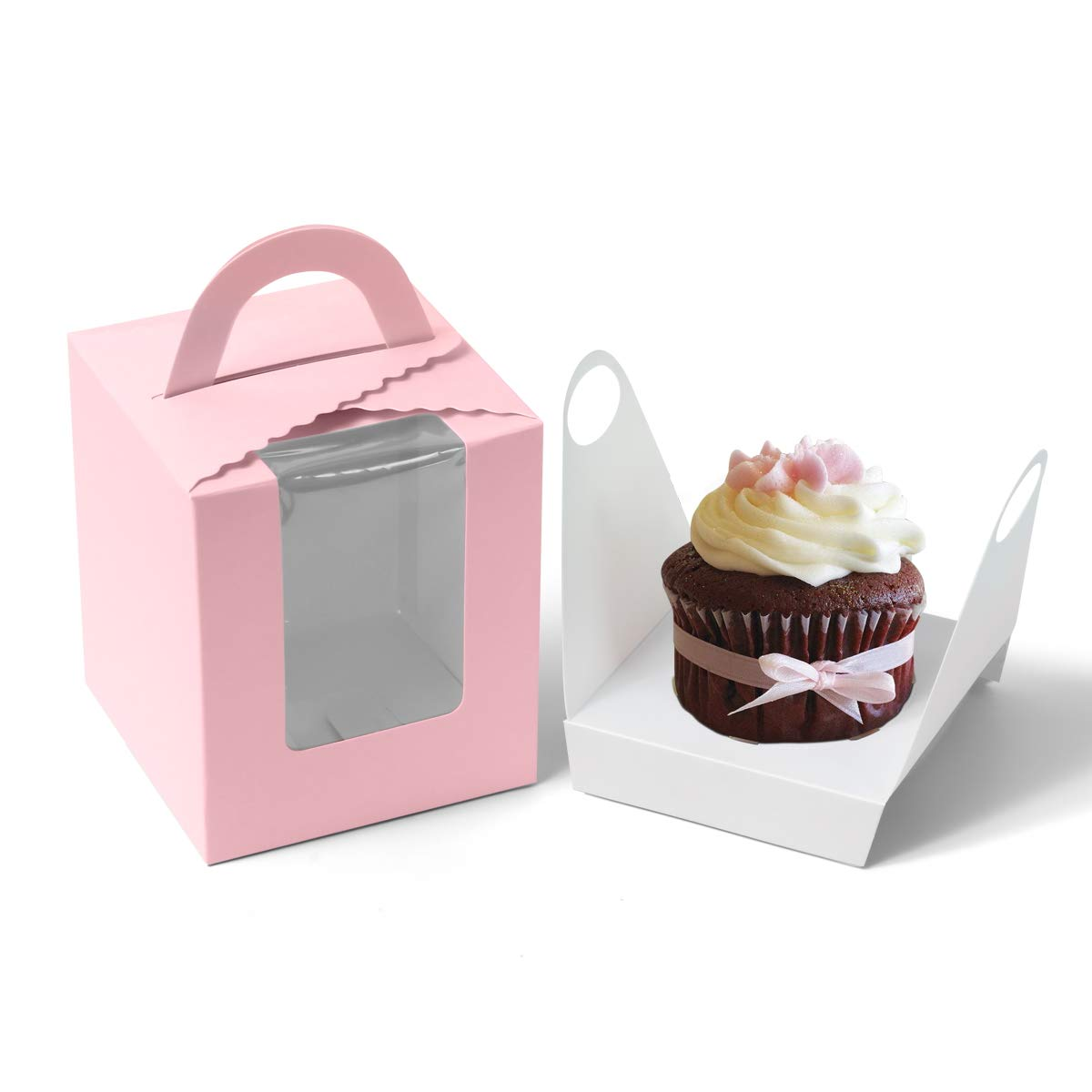 Single Cupcake Boxes Soundpretty Individual Cardboard Cupcake Box with Inserts Bakery Cupcake Carriers with Window and Handle for Wedding Birthday Parties