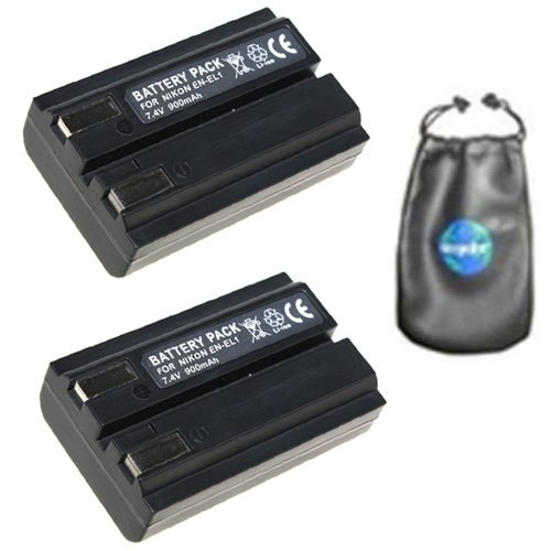 amsahr ValuePack (2 Count): Digital Replacement Camera and Camcorder Battery for Nikon EN-EL1, ENEL1, Coolpix, 5000, 5400, 5700, 775, 8700, 880, 885, 995 - Includes Lens Accessories Pouch by Amsahr