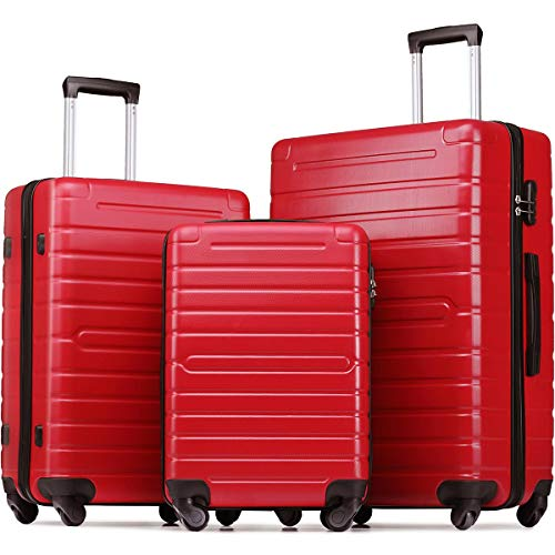 Flieks Luggage Sets 3 Piece Spinner Suitcase Lightweight 20 24 28 inch (Red2019)
