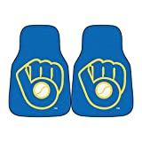 """MLB Milwaukee Brewers """"Ball In Glove"""" Carpeted Car Mat (2 Piece), 18"""" x 27""""/Small, Black"""