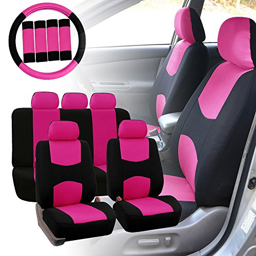 FH GROUP FB030115 Combo Light Breezy Cloth Full Set Car Seat Covers Airbag Split Ready Pink Black Fit Most Truck Suv Or Van