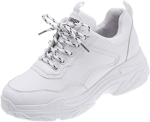 Zapatilla Blanca de Mujer Zapatillas Deportivas de Plataforma Ligera Zapatillas de Correr Zapatos de Punta Redonda con Cordones: Amazon.es: Zapatos y complementos