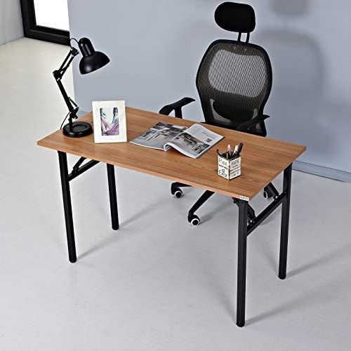 AUXLEY Computer Desk Modern Simple Writing Desk 47 inch for Home Office Study, Wood and Metal Folding Table Teak Black, No Assembly Required