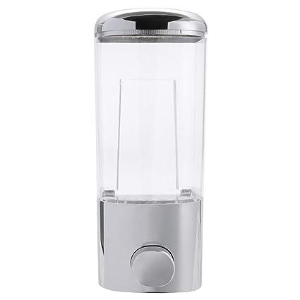 BUPADEALER - Dispensador de jabón cromado de pared (500 ml) para baño o ducha