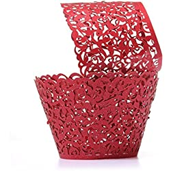 Coolrunner 48pcs Cupcake Wrappers, Cupcake Holders, Flower Vine Filigree Cutout Lace Cupcake Wrapper Wraps Liner for Wedding Party Cake Decoration