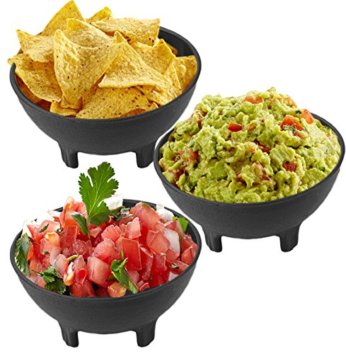 Amazon.com | Salsa Chip and Dip Snack Bowls 3-Pack Set by bogo Brands (Black, 3): Chip & Dip Sets