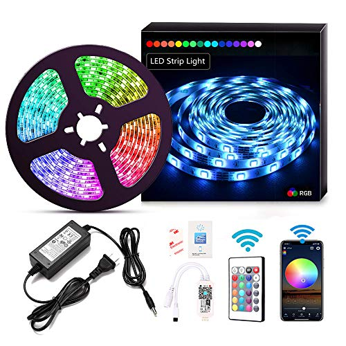 LED Strip Lights WiFi Wireless Smart Phone APP Controlled Sync to Music 5M 16.4ft Waterproof RGB Light Strips Kit 5050 LED Lights Compatible with Alexa,Google Home,IFTTT (Best Ifttt Google Home)