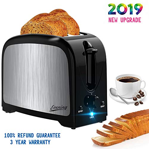 Evening 2 Slot Best Rated Prime Compact Toaster for Two Slice Bread with Pop Up Reheat Defrost Functions Removable Crumb Tray, Black