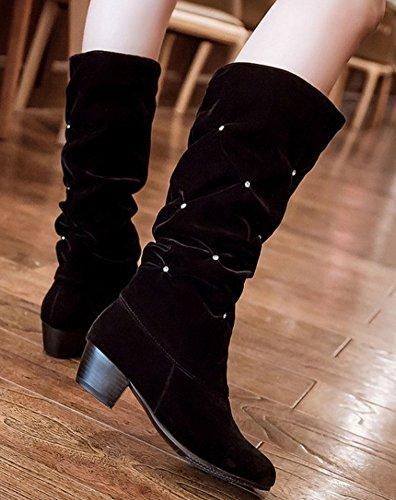 Idifu Vrouwen Chic Rhinestone Medium Hak Dikke Slouchy Mid Kalf Laarzen Zwart