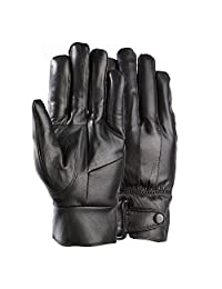 Men's Genuine Leather Warm Winter Gloves Motorcycle Full Finger Soft Sheep Skin Lined Driving Gloves (Black2)