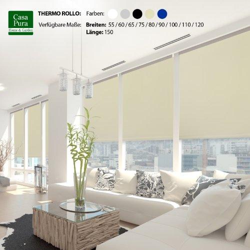 casa pura® Verdunkelungsrollo mit drei flexiblen Befestigungsarten in neun Größen | Creme | 100x150cm