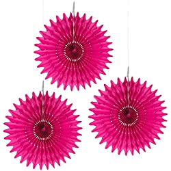 "Floral Reef Set of 3-16"" FUCHSIA Paper Tissue Rosettes Fan Medallions Hanging Home Decoration Wedding Party (3 Pack)"