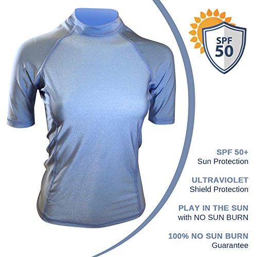 321767537b5a1 Swim Shirts For Women UV 50+ Sun Protection Rash Guard Swimwear Top Short  Sleeve