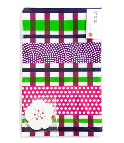 (54 PCS Cellophane Bags Japanese Pattern Purple Plaid With Gold Twist Ties and Greeting Card White Camellia Mini )