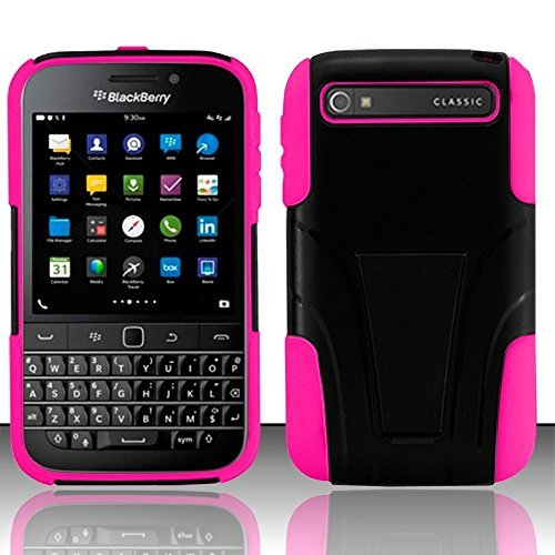 BlackBerry Classic Q20 Case, Luckiefind Hybrid Dual Layer Case with Stand, Stylus Pen Accessory (AT&T/Verizon) (Stand Pink)