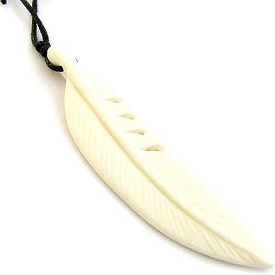 Amazon Com Ovalbuy Ox Bone Carved Feather Pendant Necklace Jewelry