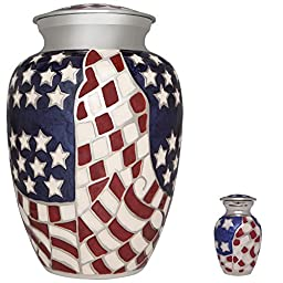 Funeral Cremation Urn for Human or Pet Ashes - Hand Made in Brass & Hand Enameled with patriotic American flag design - Liliane Memorials American Hero model (Adult)