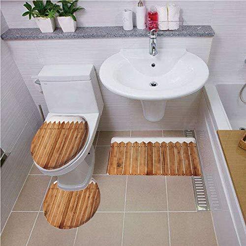 mat,Farm House Decor,Triangle Edged Timber Border Stripes Siding Woodwork Enclosing Tool Image,White Brown ,Bath mat set Round-Shaped Toilet Mat Area Rug Toilet Lid Covers 3PCS ()