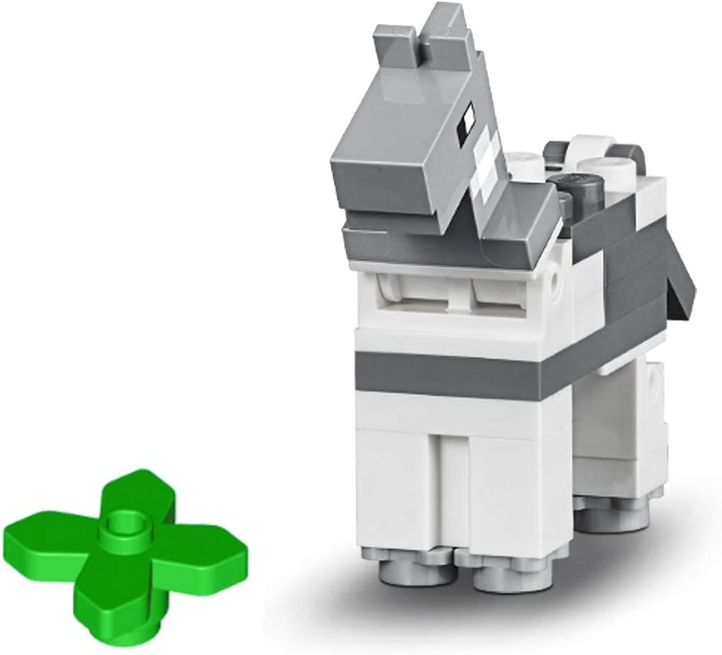 LEGO Minecraft Minifigure - Gray Horse Animal (with Minecraft Plant) 21135