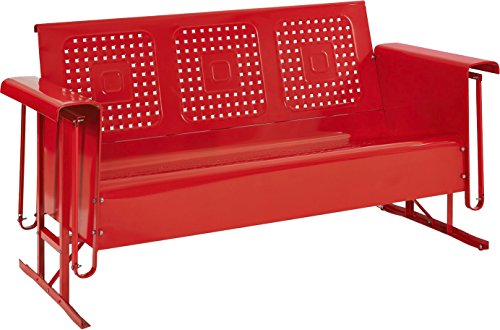 Crosley Furniture Bates Sofa Glider - Red (Metal Vintage Glider)
