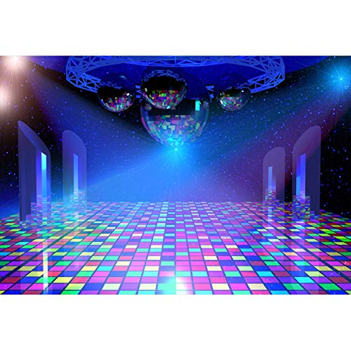 (CSFOTO 10x8ft Disco Party Backdrop 80s Themed Party Photography Background Adults Birthday Backdrop Night Club Neon Dance Scene Setter Music Themed Adults Portrait Studio)