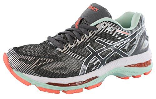 ASICS Women's Gel-Nimbus 19 Running Shoe, Carbon/White/Flash Coral, 8 M US