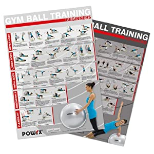 POWRX Swiss Ball Workout Chart, set of 2, Beginner and Advanced Level